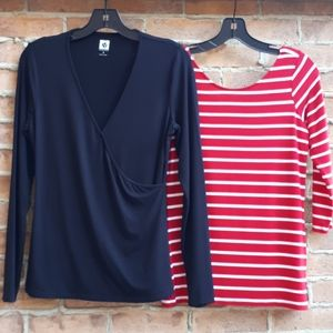 Set of 2 Tees S/M(Ann Klein and Guess)